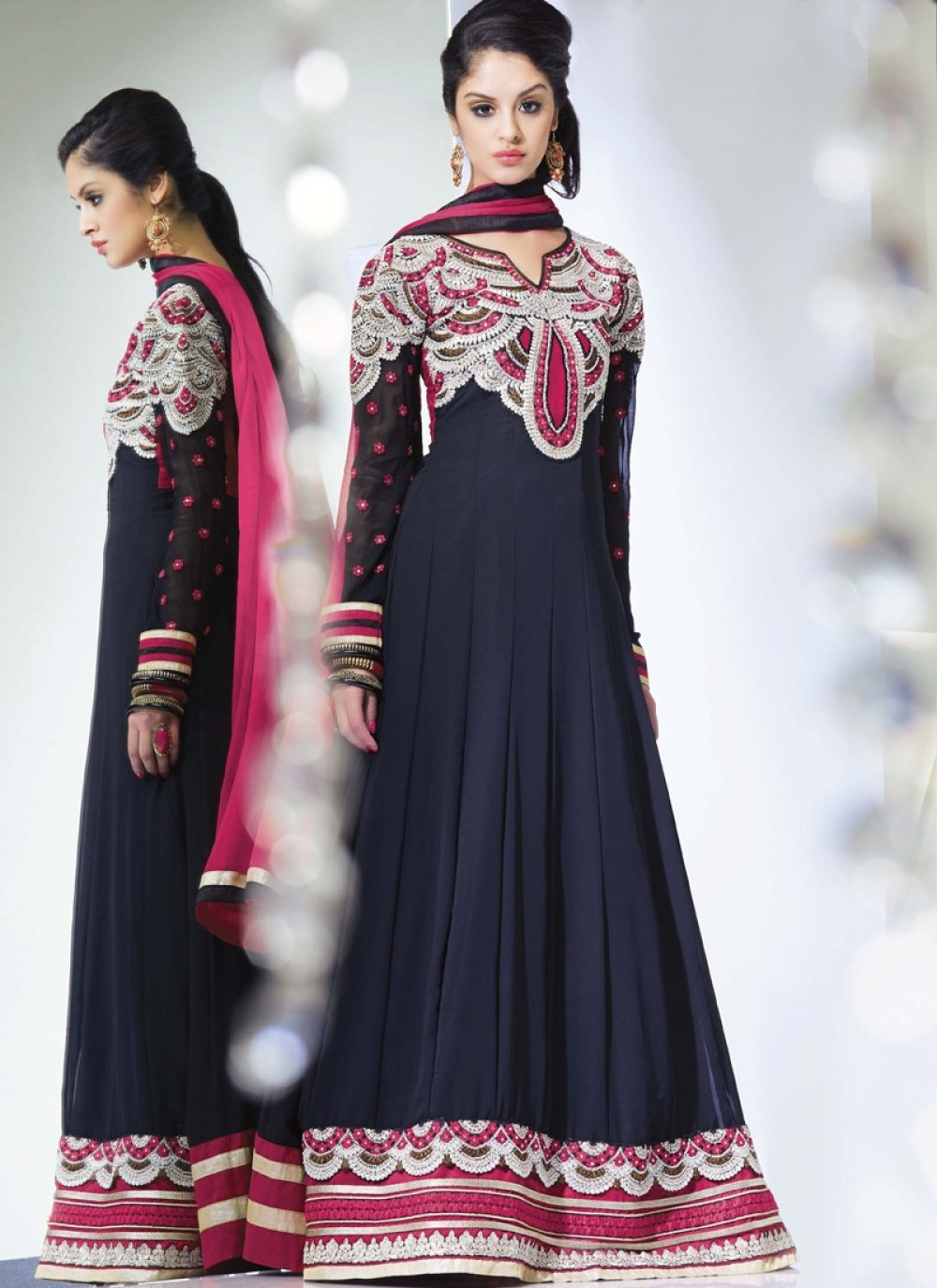 Navy Blue Resham Work Georgette Designer Anarkali Suit