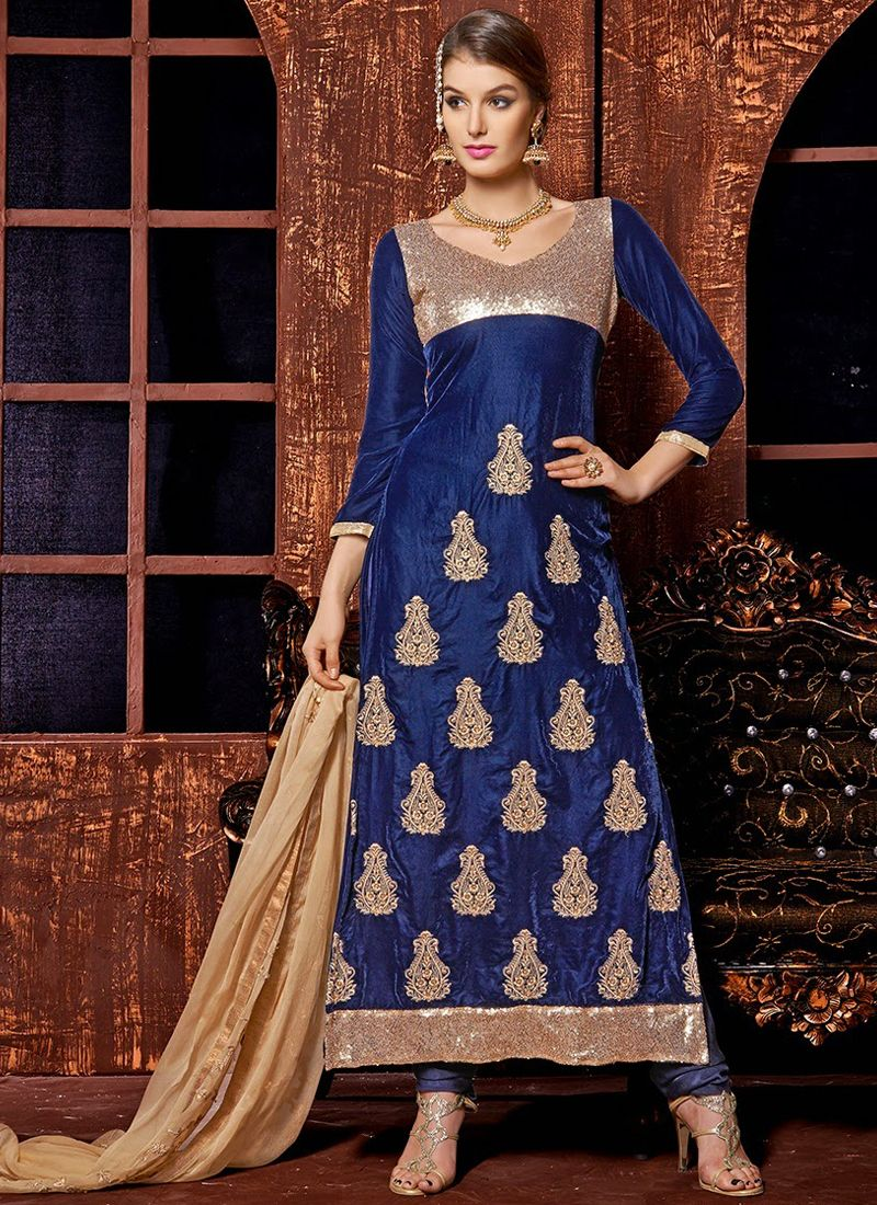 Navy Blue Zari Work Churidar Suit