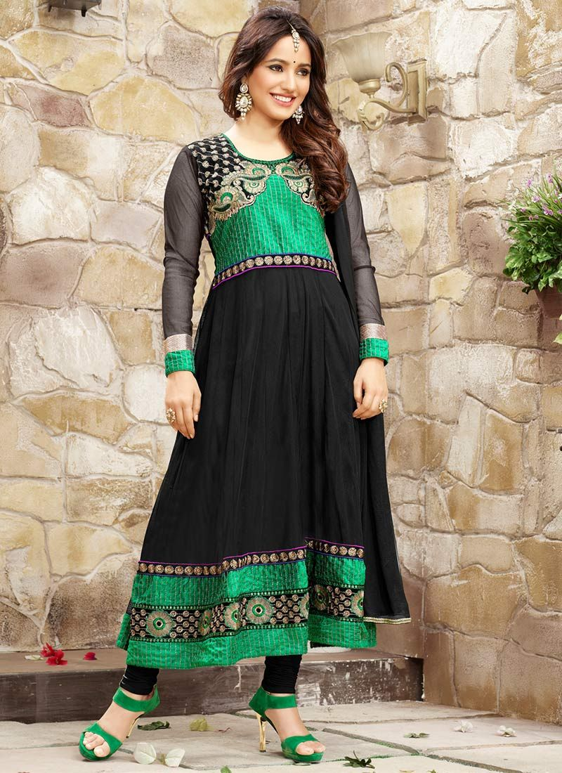 Neha Sharma Black Border Work Anarkali Suit