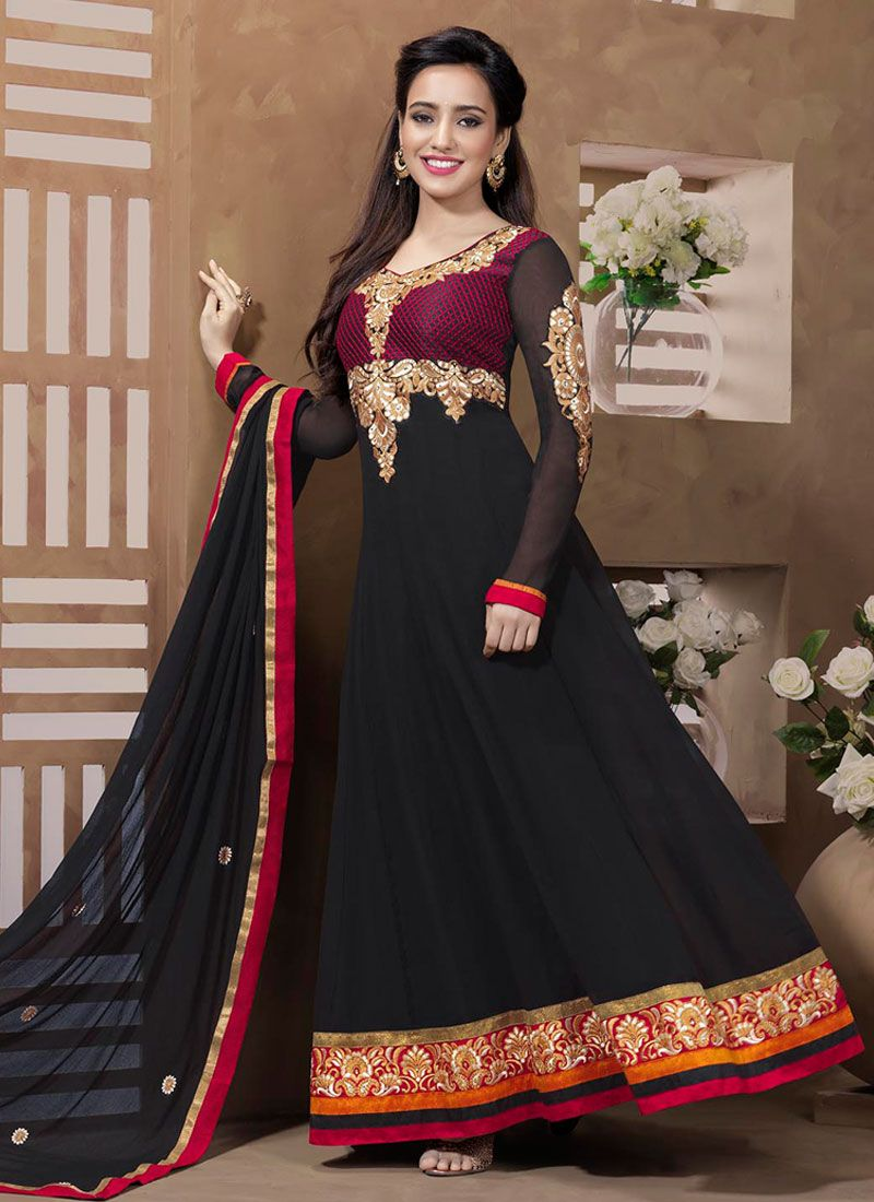 Neha Sharma Black Embroidery Work Anarkali Suit