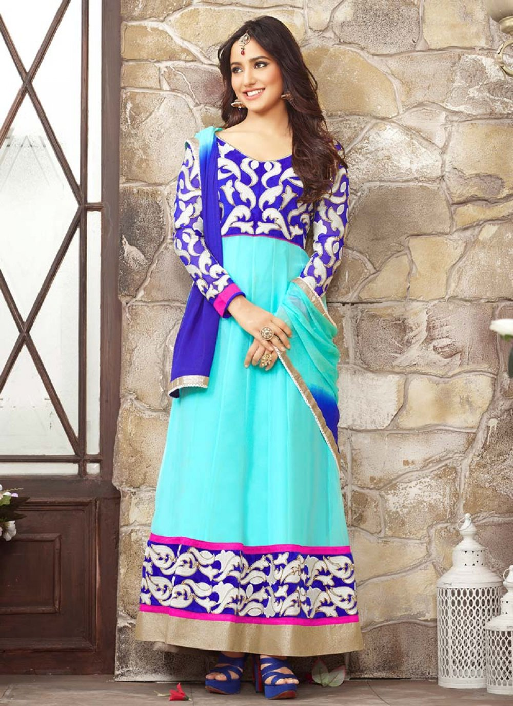 Neha Sharma Blue Ankle Length Anarkali Suit
