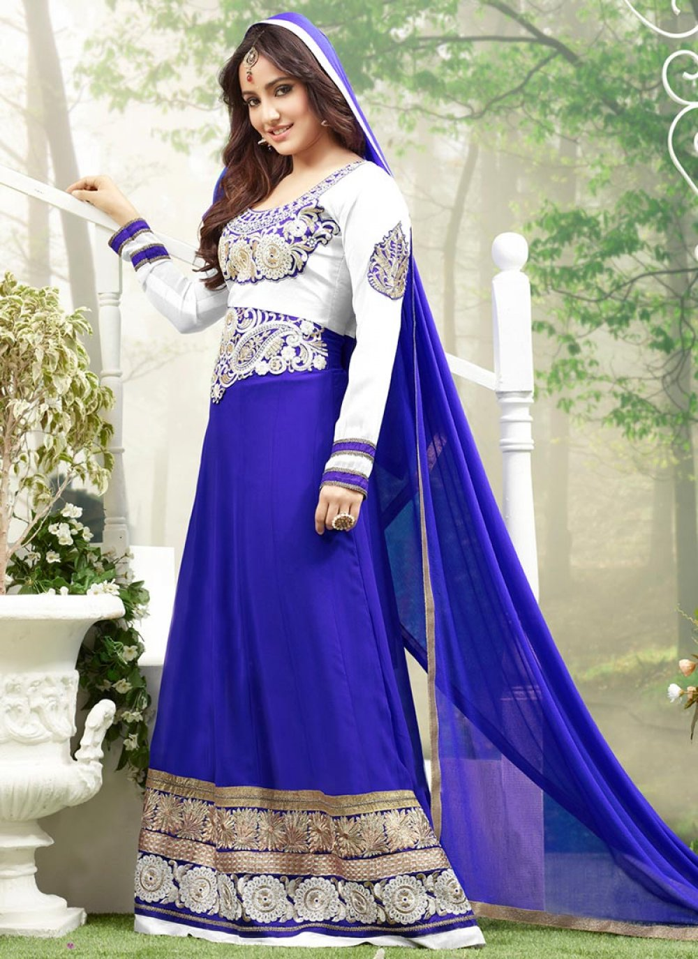 Neha Sharma Blue Border Work Floor Length Anarkali Suit