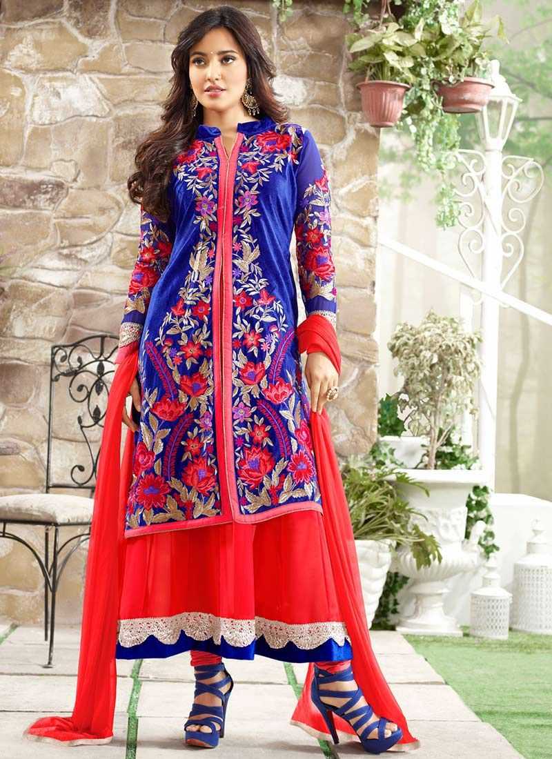 Neha Sharma Blue Embroidery Layered Anarkali Suit