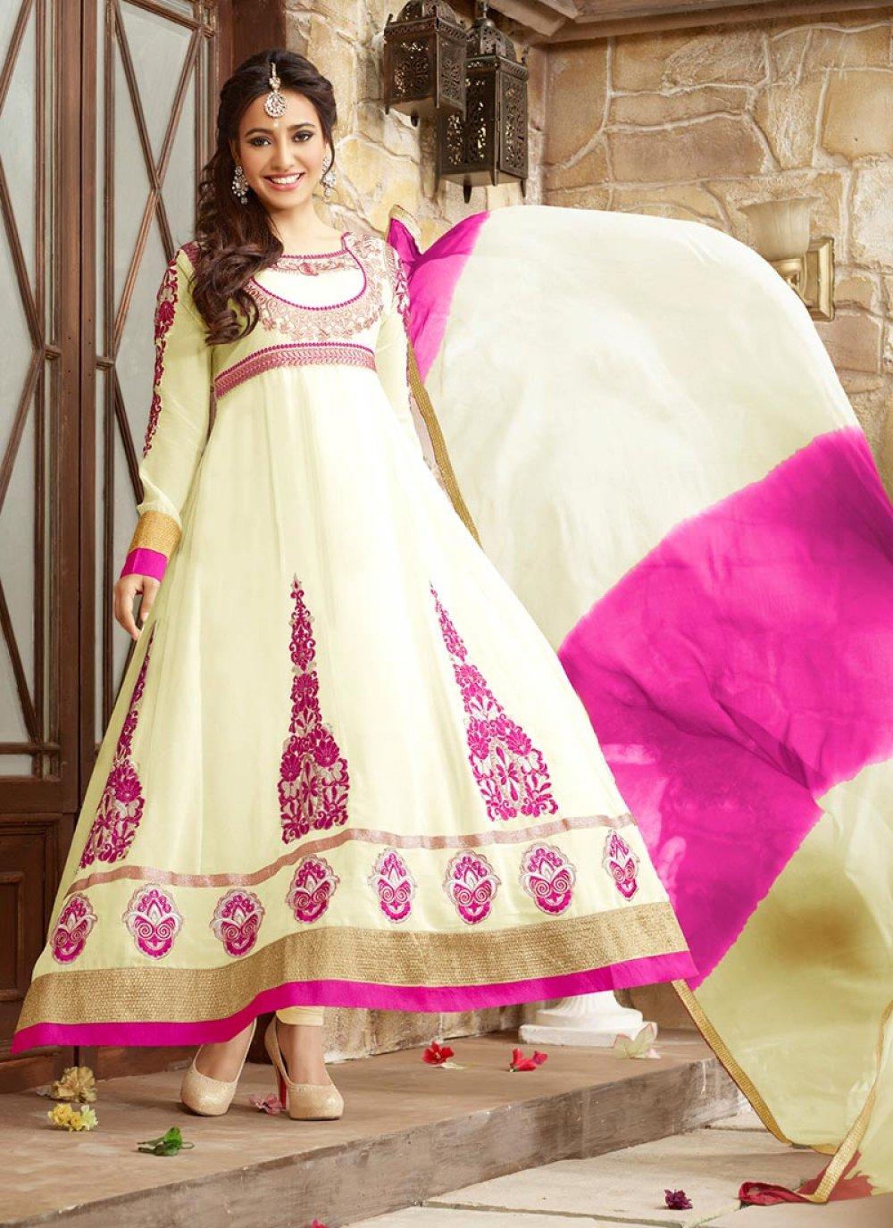 Neha Sharma Cream Embroidery Ankle Length Anarkali Suit