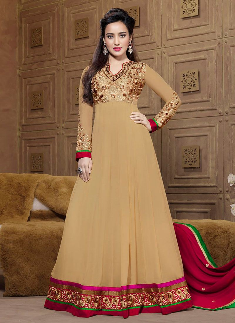 Neha Sharma Cream Resham Border Work Anarkali Suit