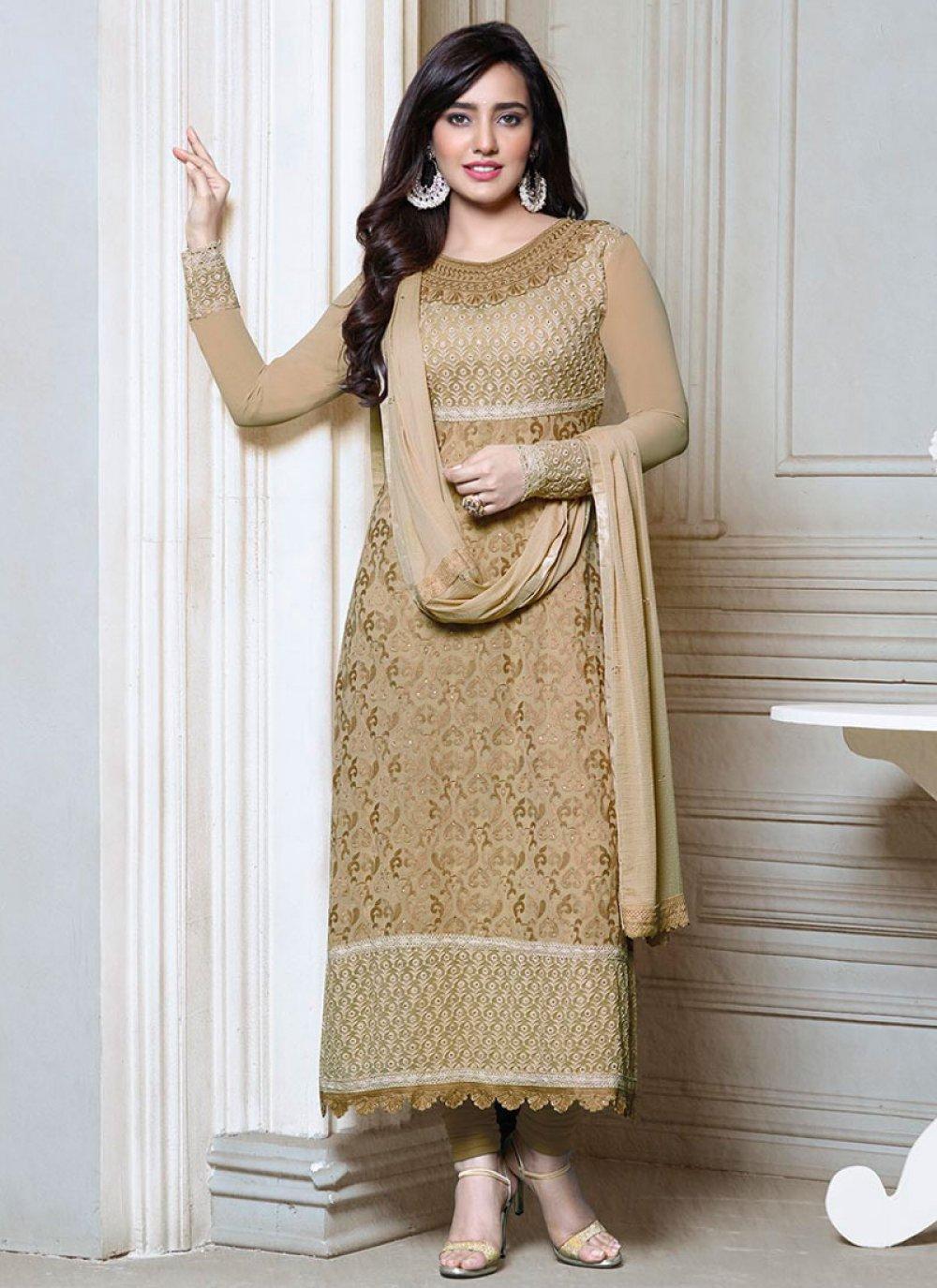 Neha Sharma Cream Resham Work Churidar Suit