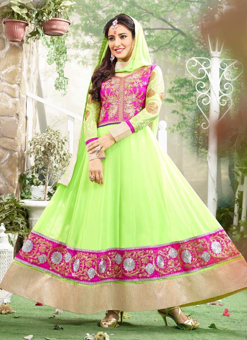 Neha Sharma Green Patch Border Ankle Length Anarkali Suit