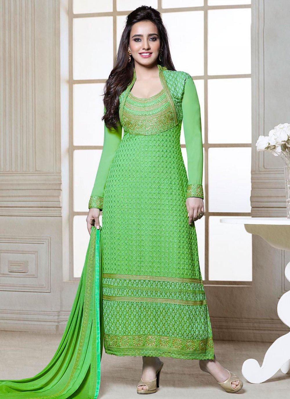 Neha Sharma Green Resham Churidar Suit