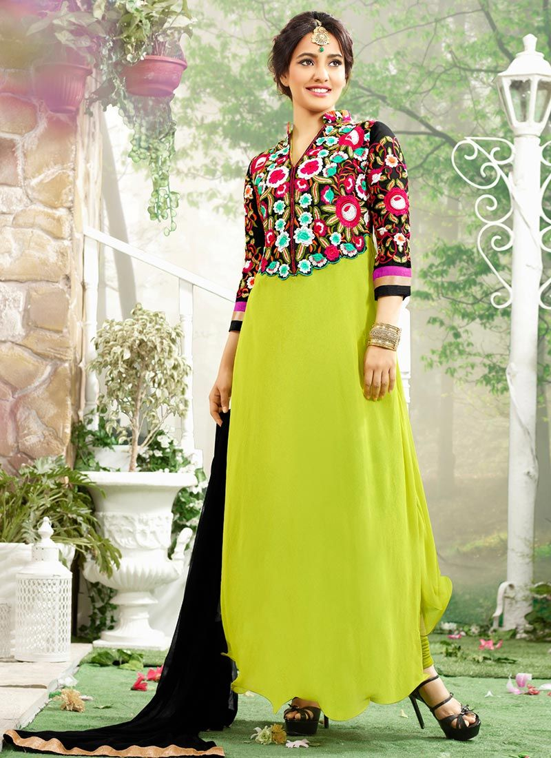 Neha Sharma Green Resham Work Churidar Suit