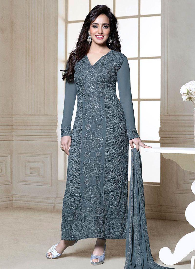 Neha Sharma Grey Resham Churidar Suit