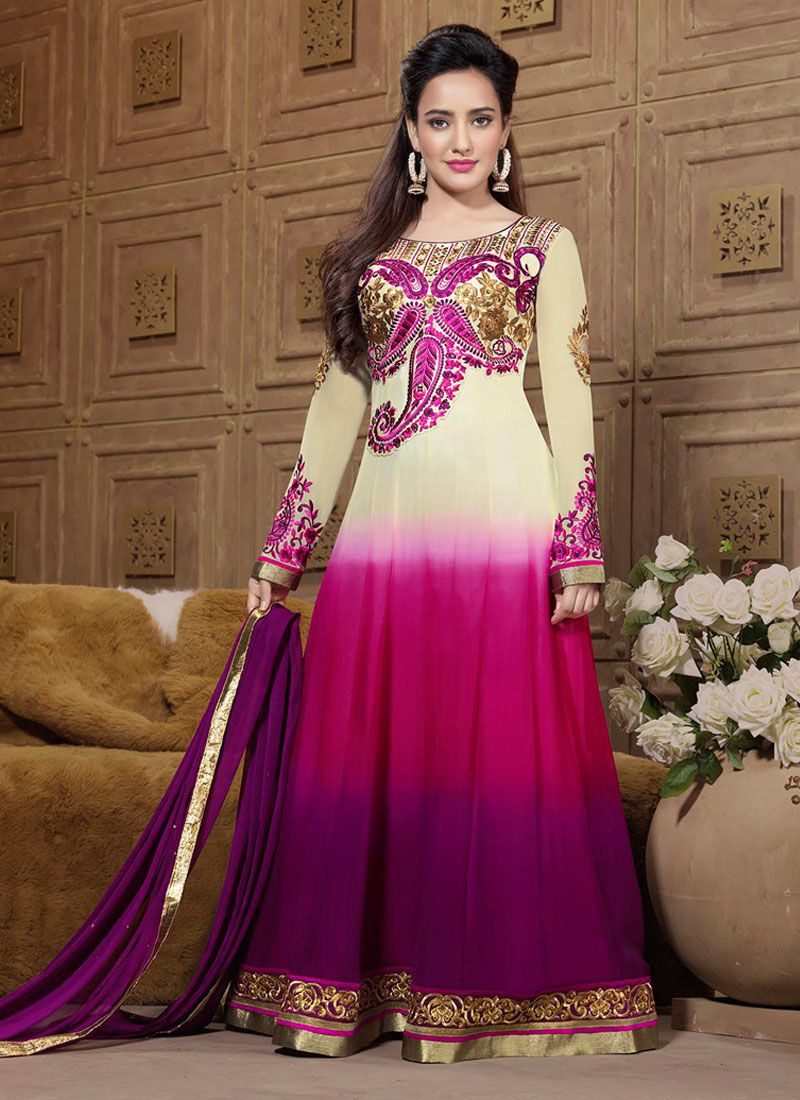 Neha Sharma Multicolor Resham Work Anarkali Suit