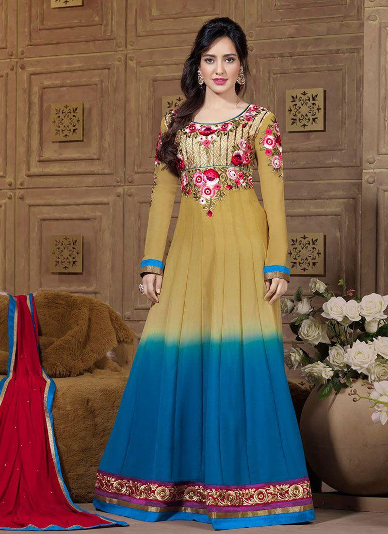 Neha Sharma Multicolor Resham Work Georgette Anarkali Suit