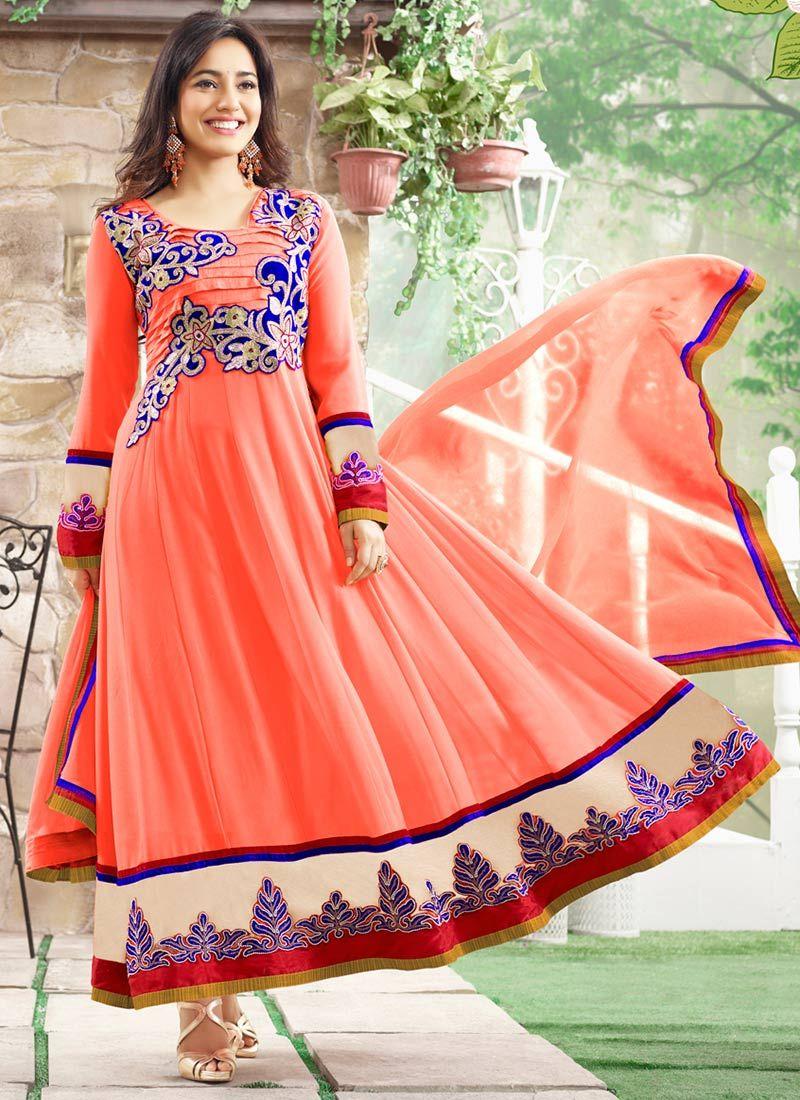 Neha Sharma Peach Ankle Length Anarkali Suit