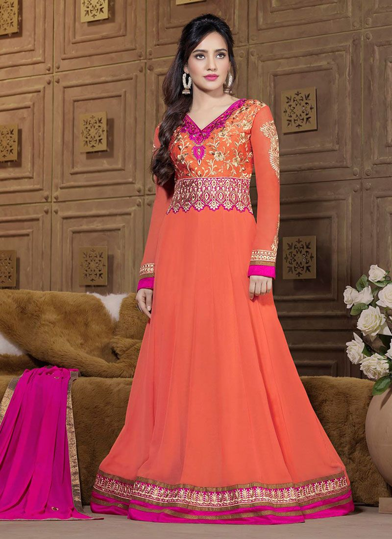 Neha Sharma Peach Faux Georgette Anarkali Suit