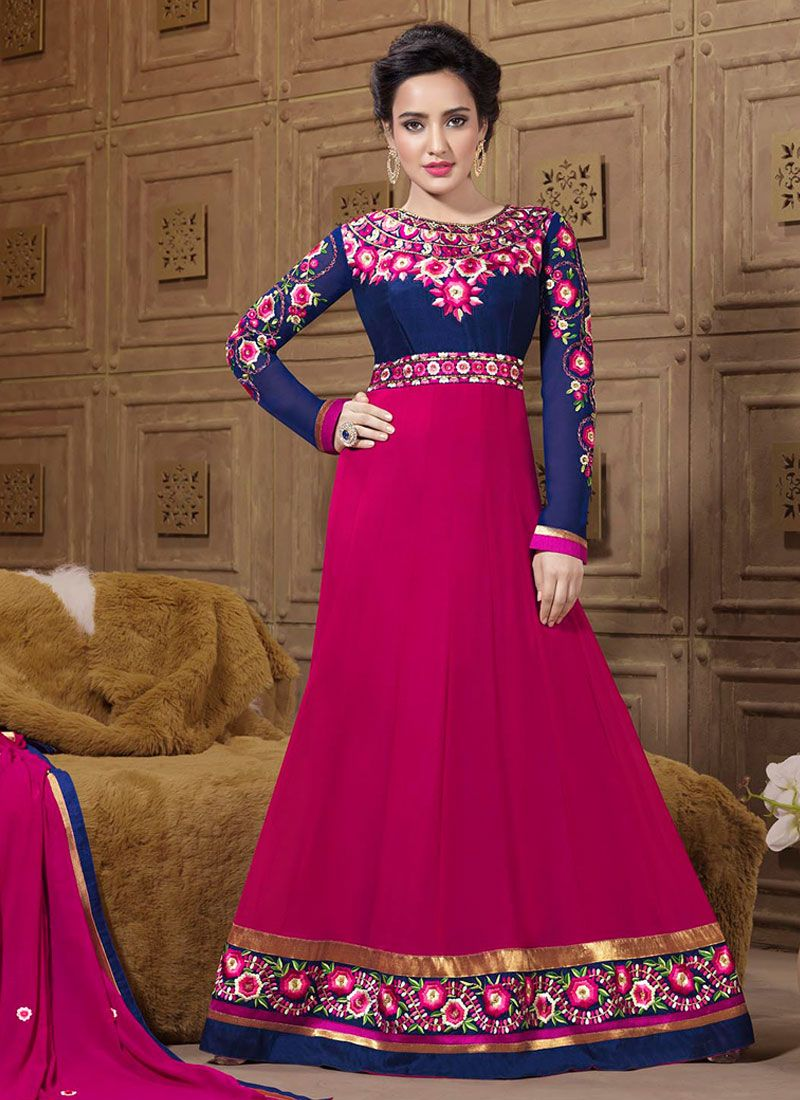 Neha Sharma Pink And Blue Resham Georgette Anarkali Suit