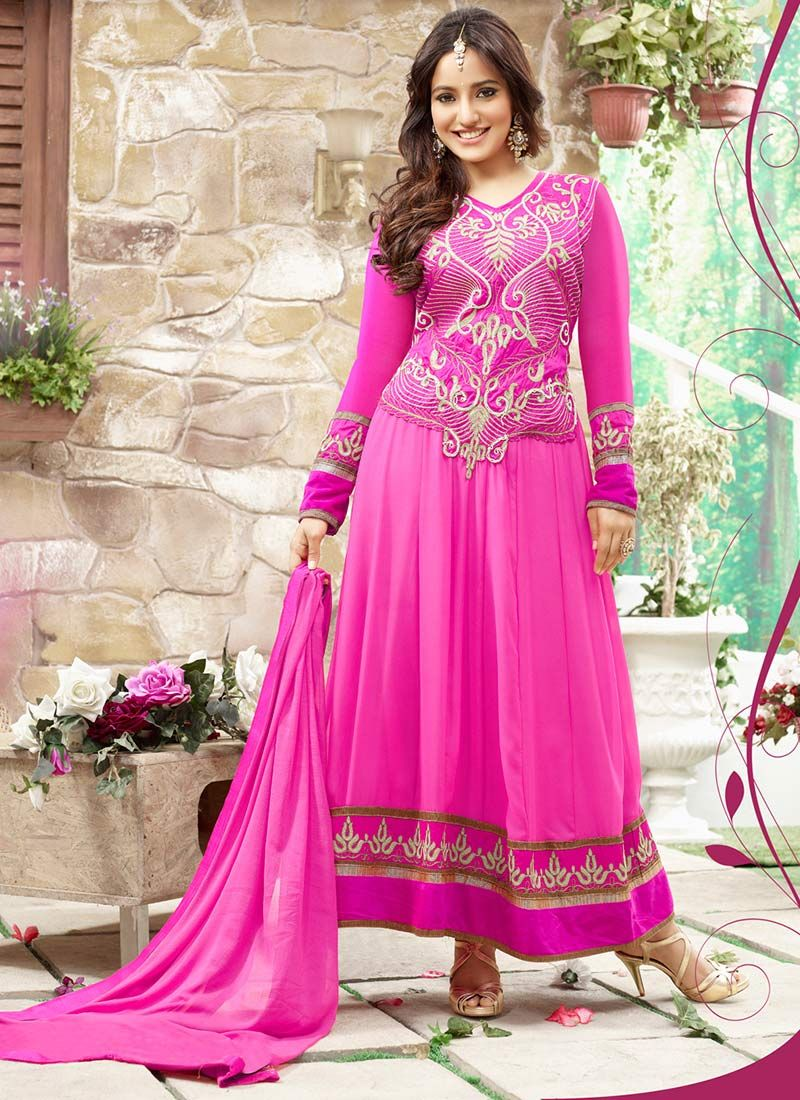 Neha Sharma Pink Border Work Ankle Length Anarkali Suit
