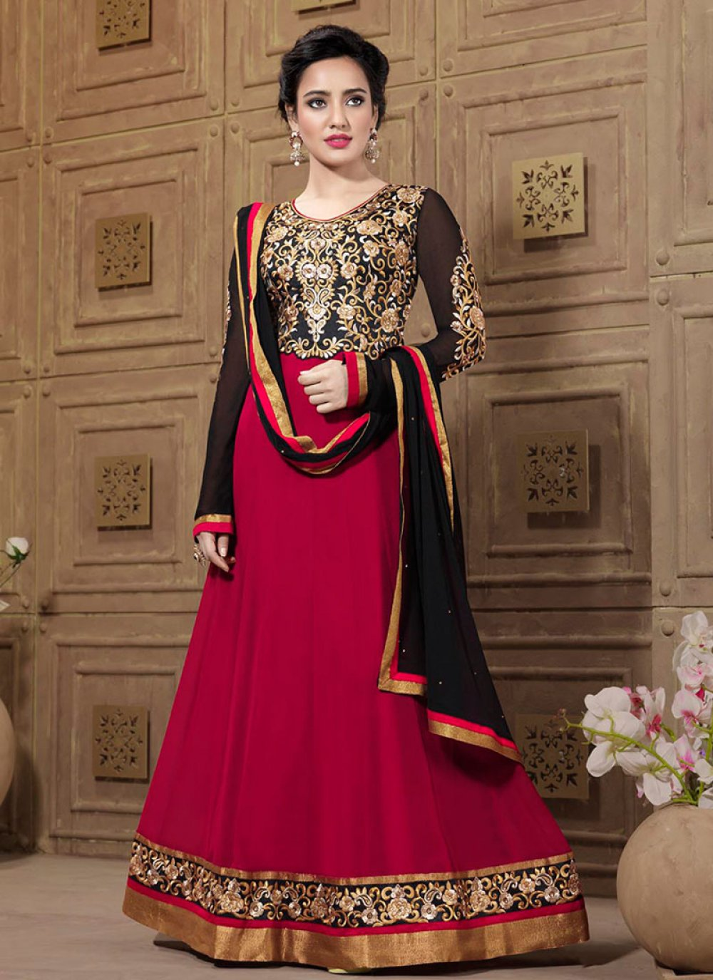 Neha Sharma Red And Black Zari Work Anarkali Suit