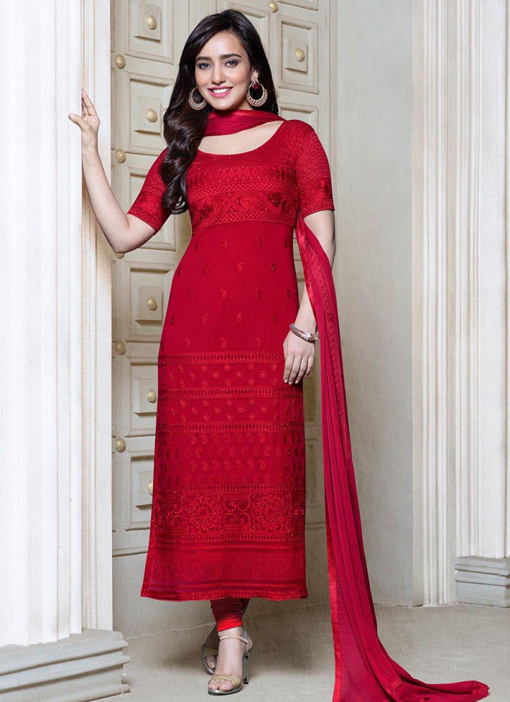 Neha Sharma Red Georgette Churidar Suit