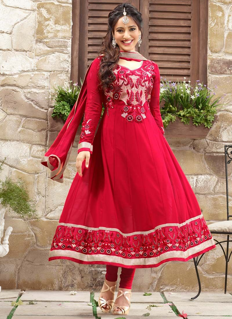 Neha Sharma Red Resham Work Anarkali Suit