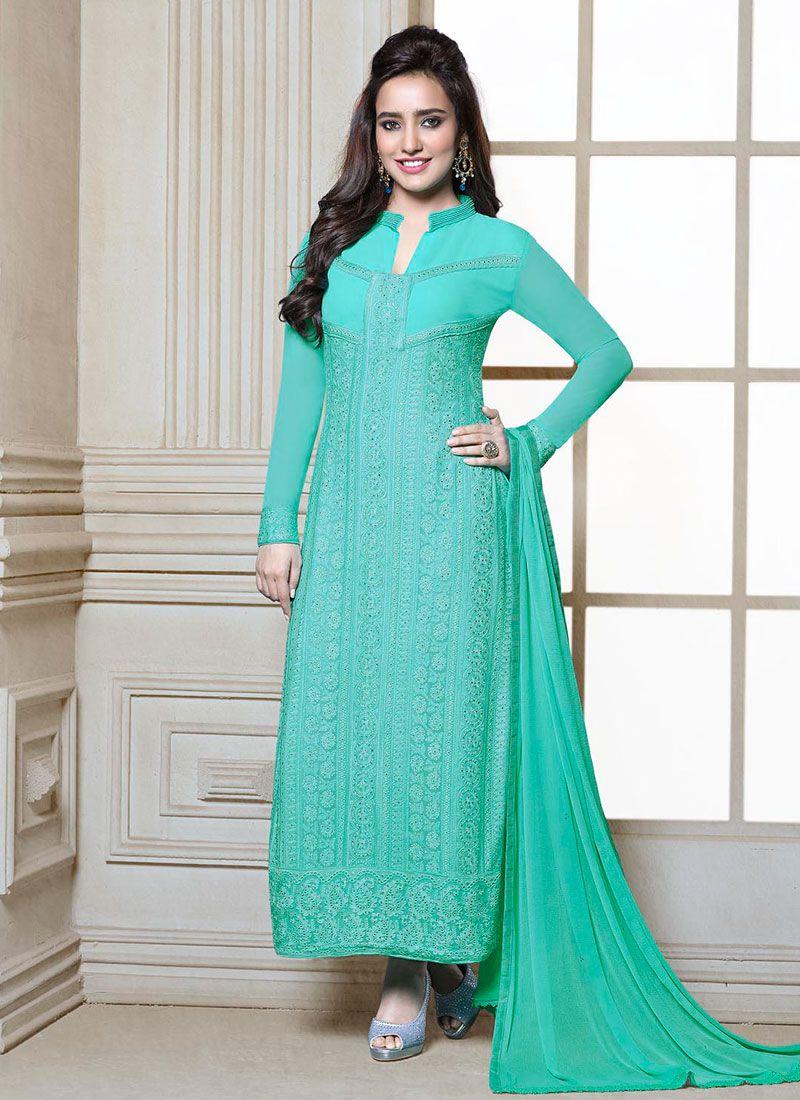 Neha Sharma Turquoise Blue Churidar Salwar Suit