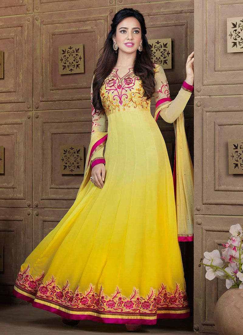 Neha Sharma Yellow Embroidery Work Anarkali Salwar Suit