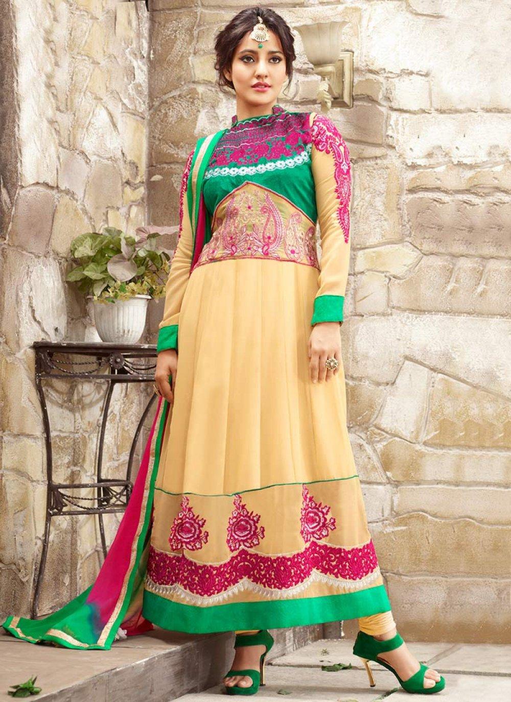 Neha Sharma Yellow Resham Work Anarkali Suit