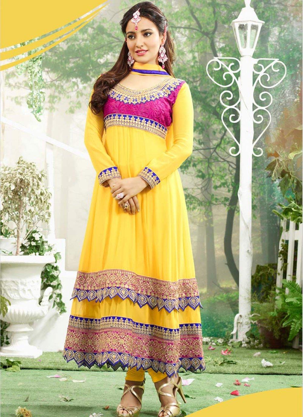 Neha Sharma Yellow Resham Work Georgette Anarkali Suit