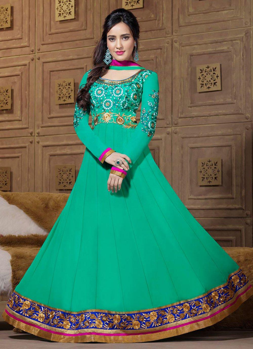 Neha Shrama Turquoise Embroidery Work Anarkali Suit