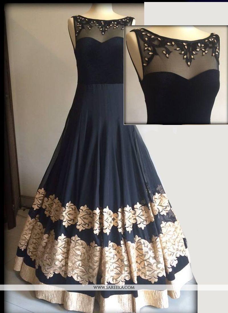 f1b37652cd6 Net Black and Grey Resham Work Designer Gown -