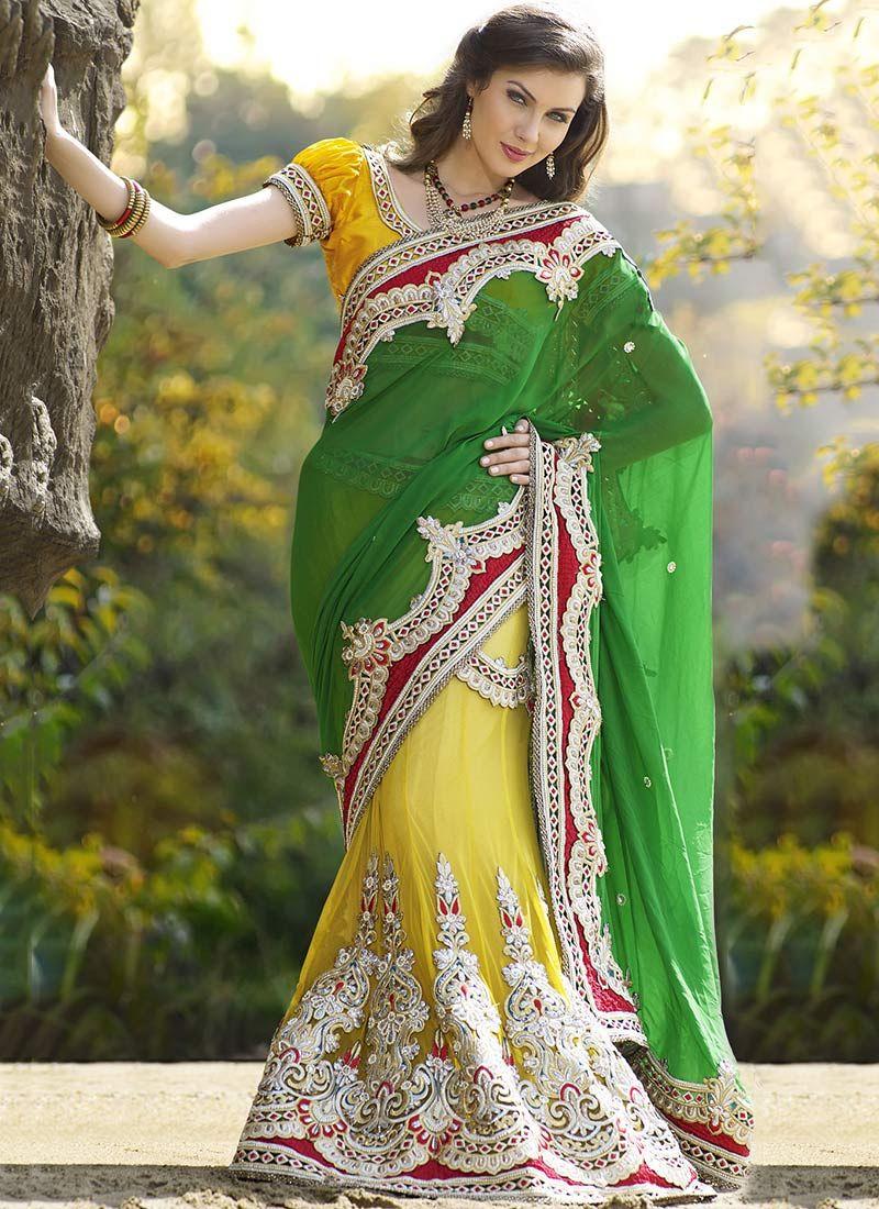 Yellow And Green Net Lehenga Saree