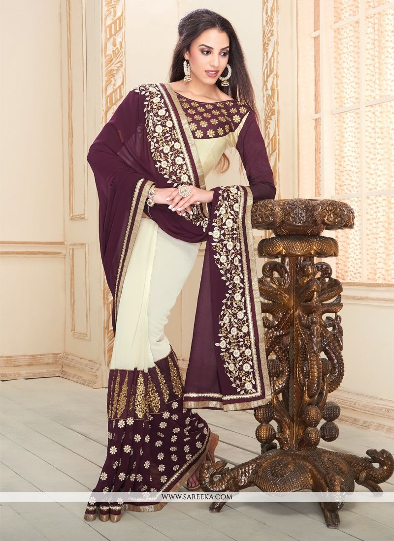 Cream and Purple Embroidered Work Georgette Designer Saree
