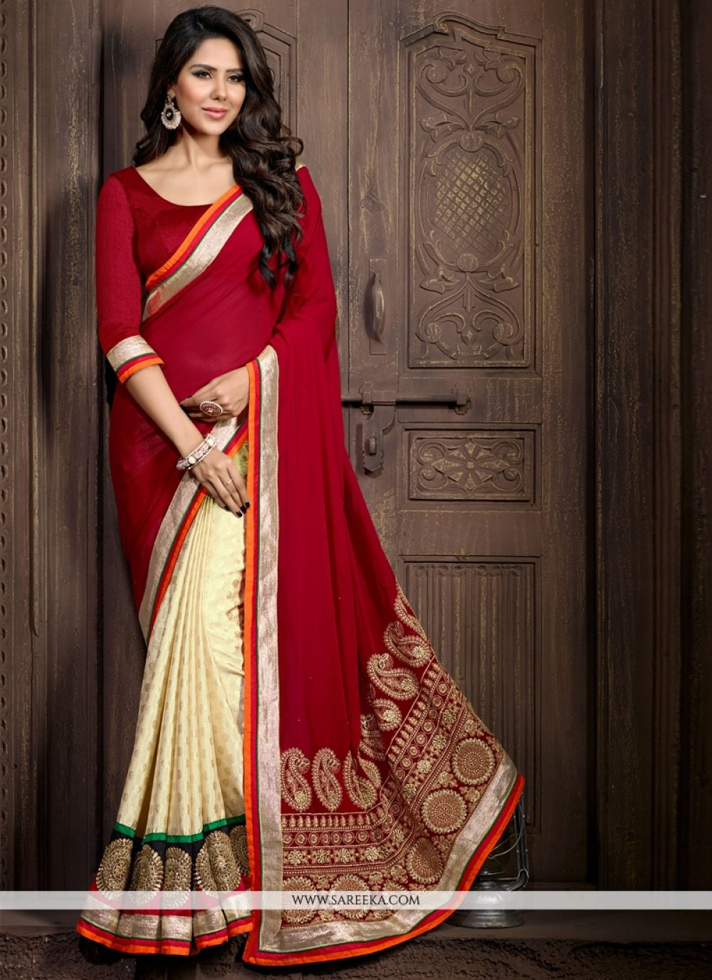Faux Chiffon Patch Border Work Designer Saree