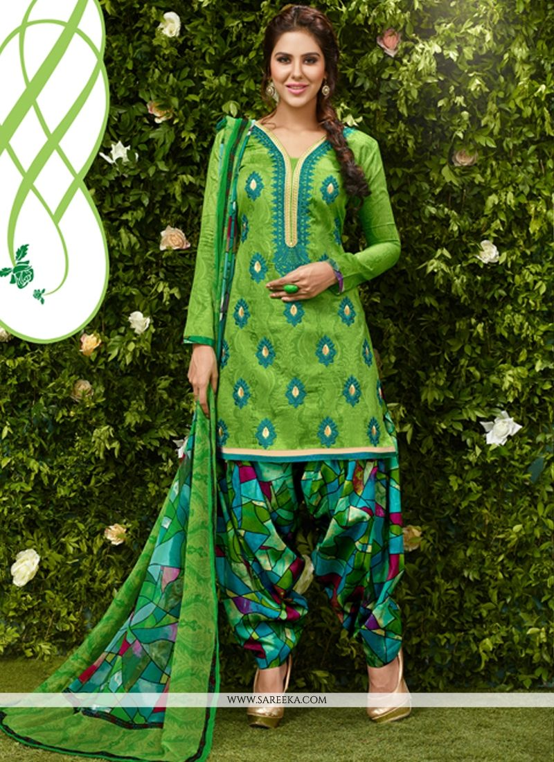 Green Designer Patila Salwar Suit