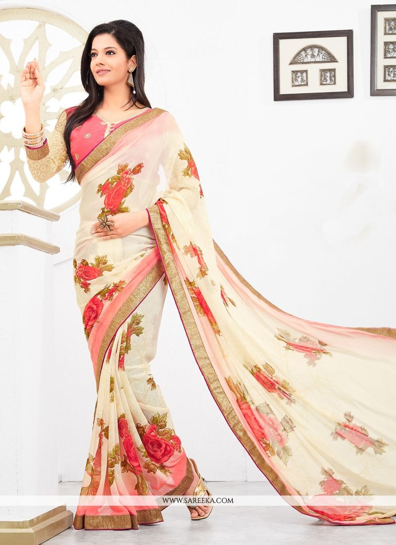 Cream Georgette Casual Saree