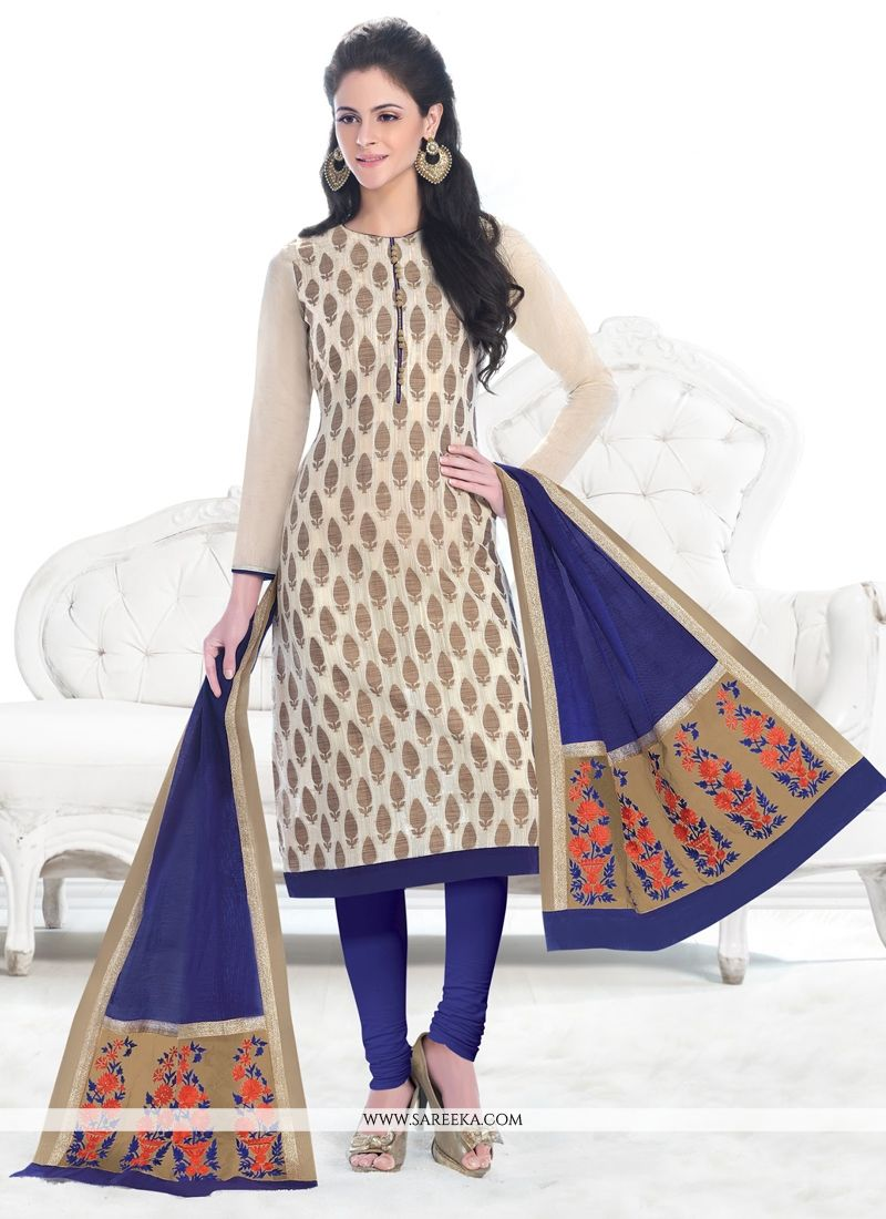 Lace Work Jacquard Churidar Designer Suit