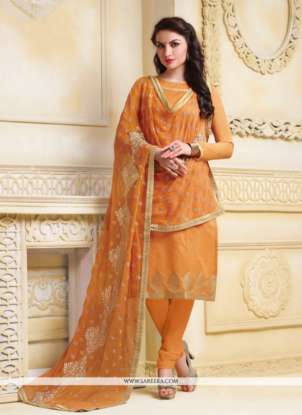 Orange Banarasi Silk Churidar Salwar Suit