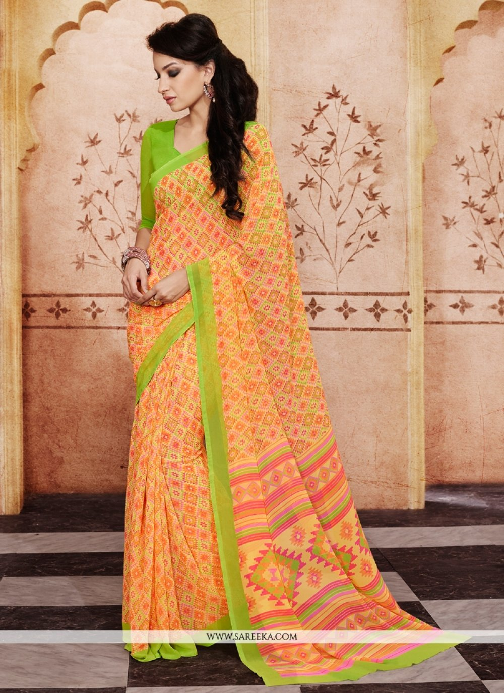 Print Work Orange Casual Saree