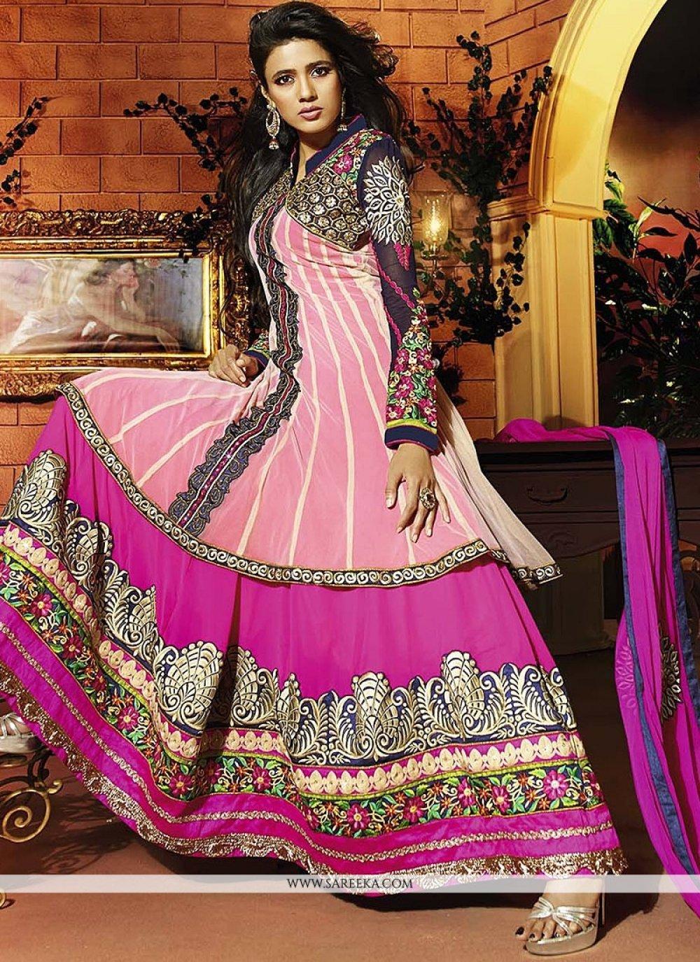 Zari Work Hot Pink Anarkali Salwar Suit
