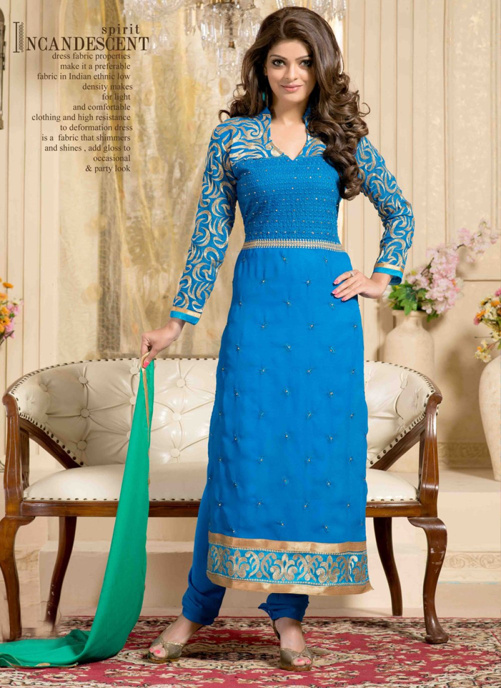 Blue Embroidery Churidar Suit