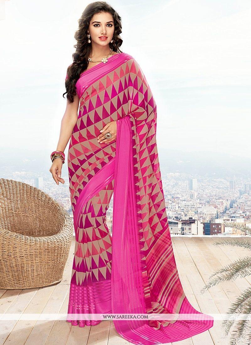 Hot Pink Casual Saree