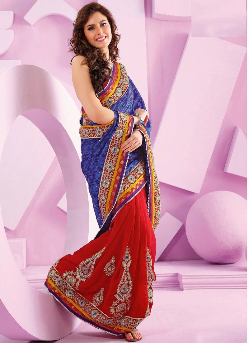 Red And Blue Net Half And Half Saree