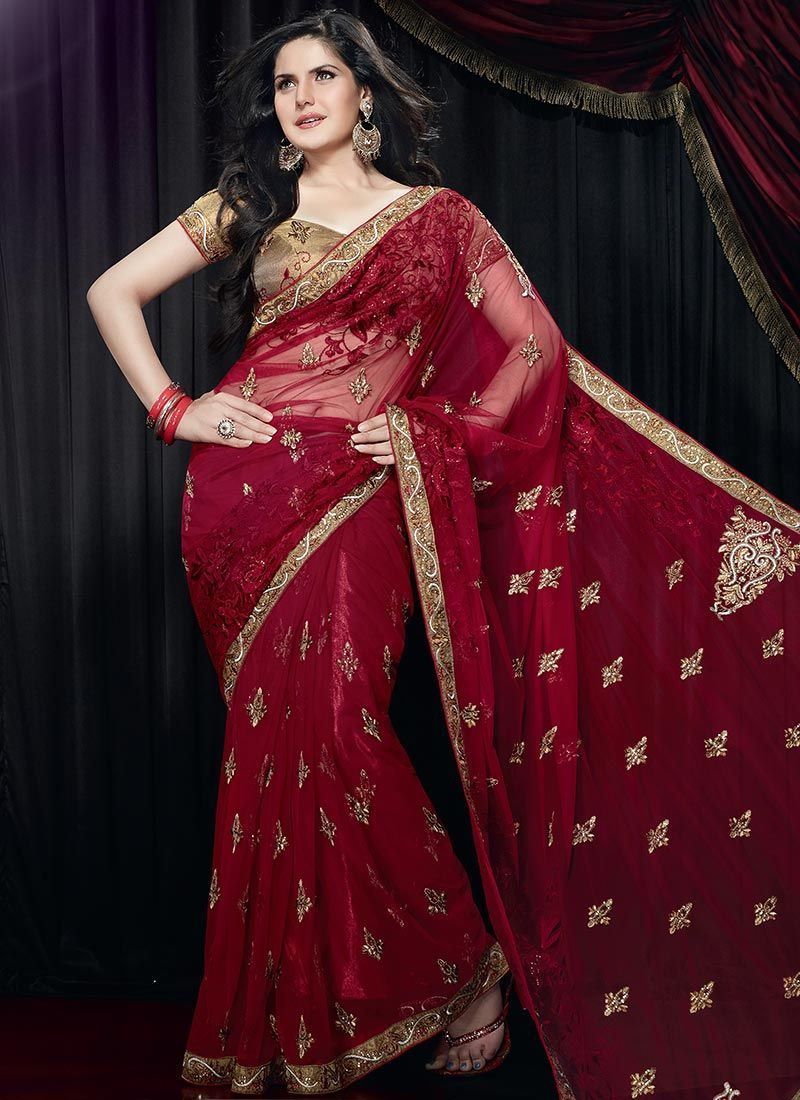 Resham Net Embroidered Saree