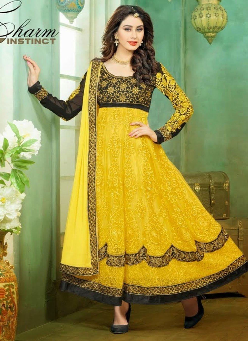 Yellow Resham Anarkali Suit