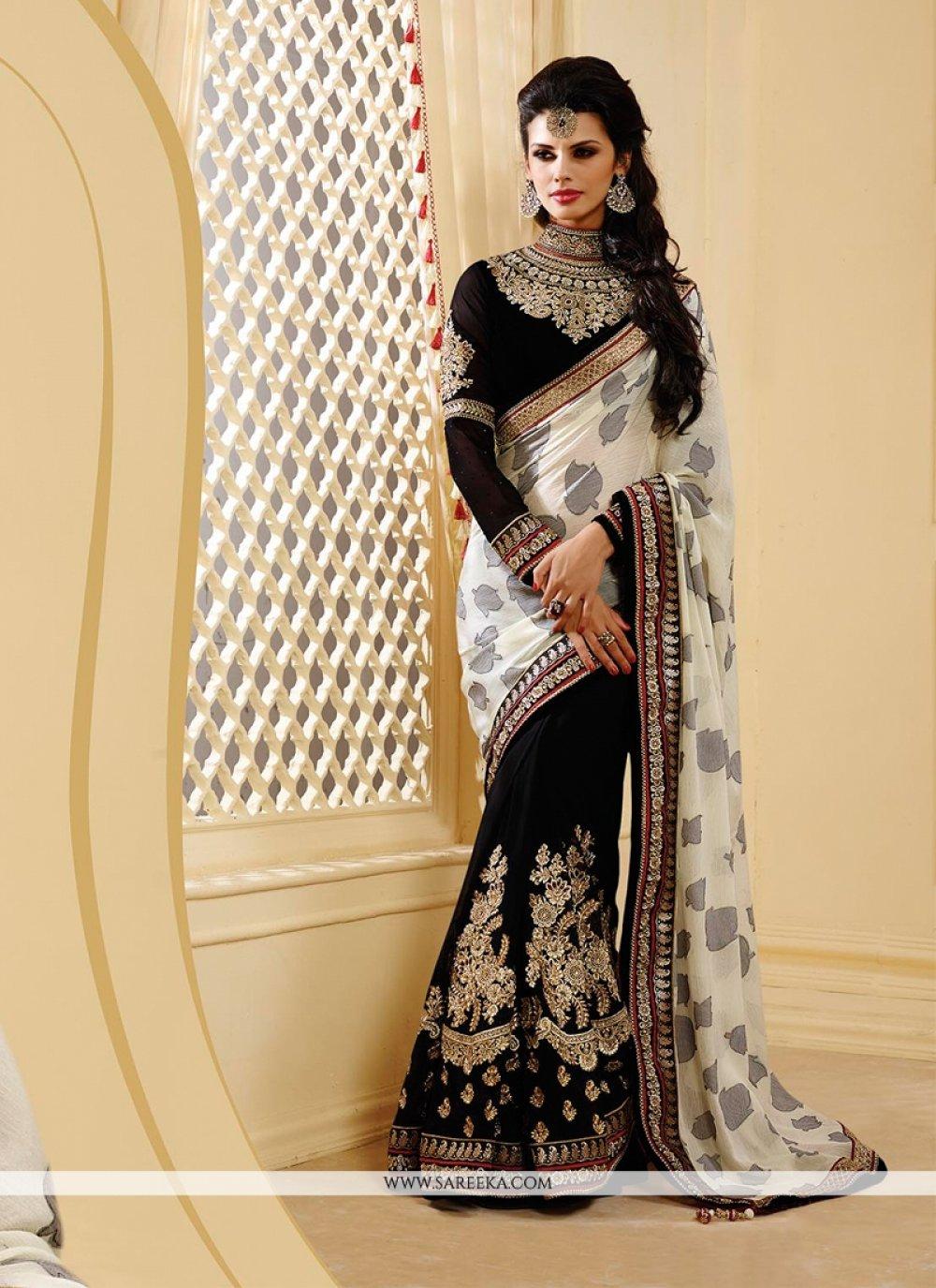 Off White And Black Chiffon Jacquard Designer Saree