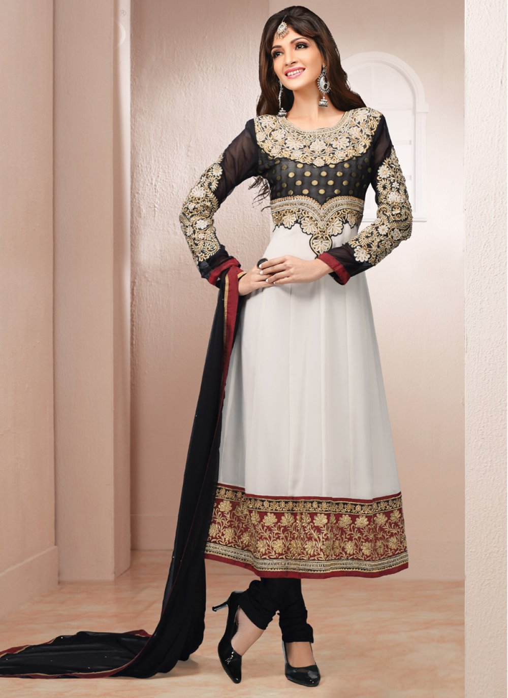 Off White And Black Embroidery Work Faux Georgette Anarkali Suit