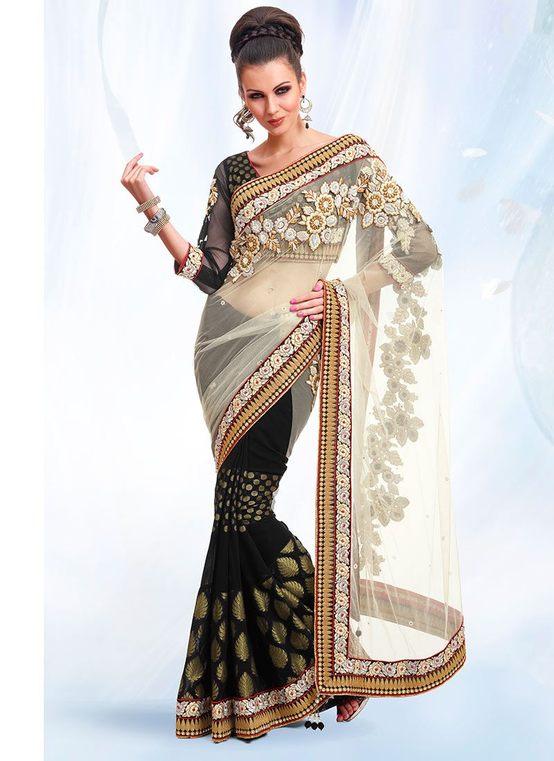 Off White And Black Half N Half Saree