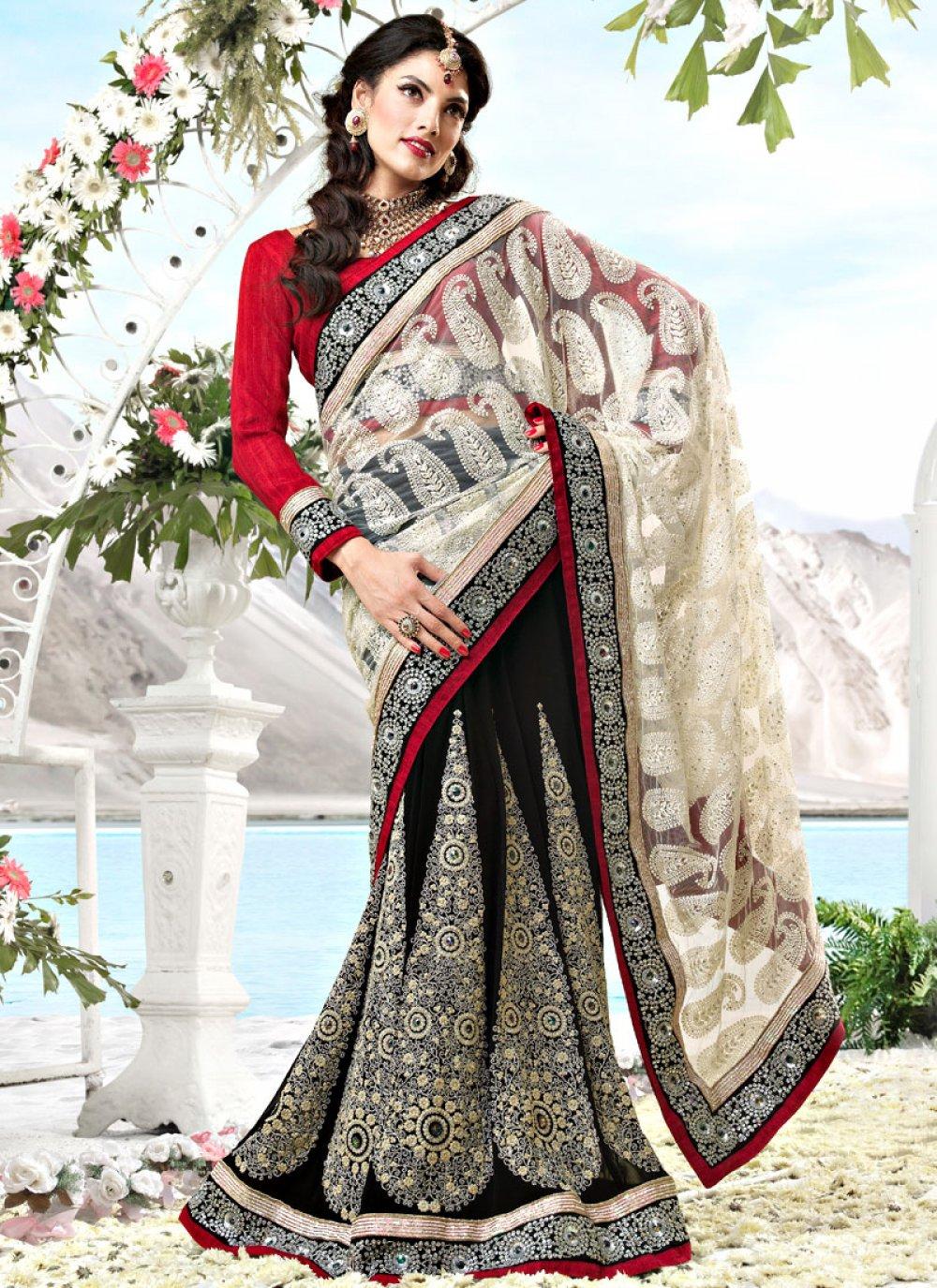 Off White and Black Net Lehenga Style Saree