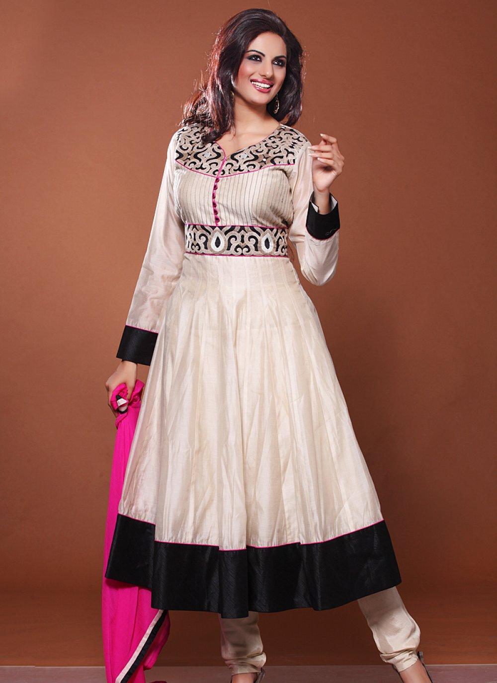 Off White And Black Resham Work Net Anarkali Salwar Suit
