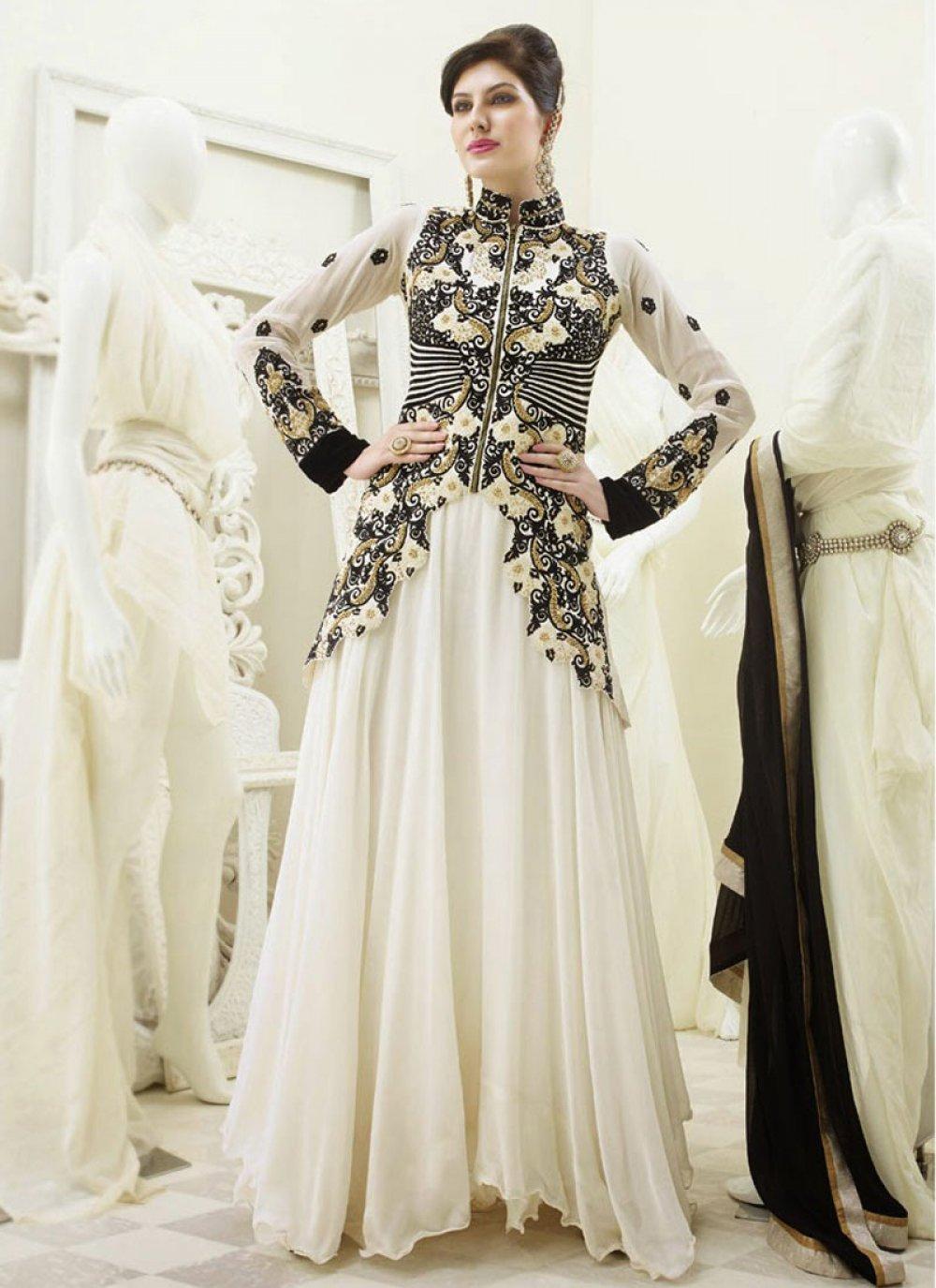 Off White And Black Resham Work Net Anarkalil Suit