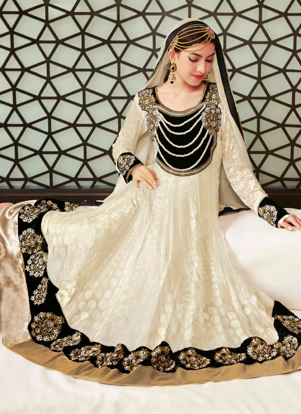 Off White And Black Stone Work Net Anarkali Suit